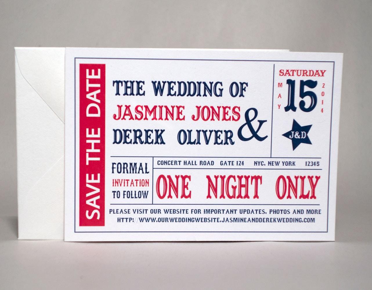 Single Sample – Theater Ticket Wedding Save the Date – Cinema Movie ...