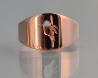 14k Rose Gold Cutout Hummingbird Ring, Handmade in Maine