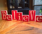 BELIEVE blocks, Believe block letters, Christmas sign, wood letters, shabby chic letters