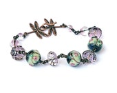 Venetian Lampwork Bead Bracelet Swarovski Crystals Antique Pink Rose Ivory Copper Dragonfly Clasp Good Luck Gift Romantic Victorian OOAK