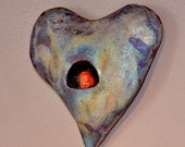 Raku Ceramic Heart Wall Sculpture.  BUDDHA HEART - Rainbow Raku Ceramics.  Hand Built Ceramic Wall Hanging . Ceramic Art.
