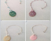 Pink / Teal Green / Ivory Floral Cherry Blossom / Daisy / Paisley Mother of Pearl Shell Pendant Necklace