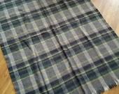 wool blanket plaid tartan green grey Bronte Tweeds made in Yorkshire, England tweed
