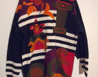 Sontoria geometric jewel sweater grunge boho ugly sweater jumper graphic design bejeweled glitter l large