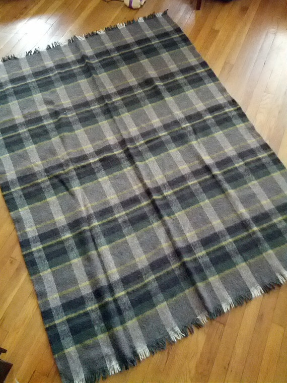 wool blanket plaid tartan green grey bronte tweeds made in. Black Bedroom Furniture Sets. Home Design Ideas