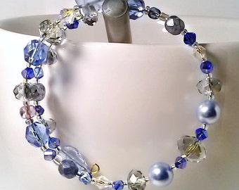 Blue Czech Glass Swarovski Crystal  Memory Wire Bracelet