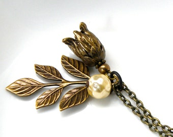Brass flower pendant, detailed brass ox flower necklace, pearl floral necklace