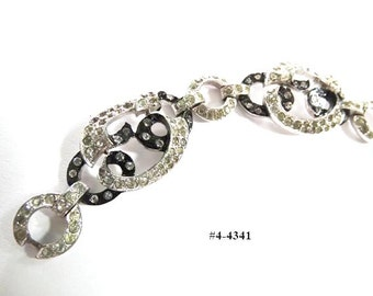 FREE SHIP Art Deco Black Enamel and Clear Rhinestones Bracelet (4-4341)