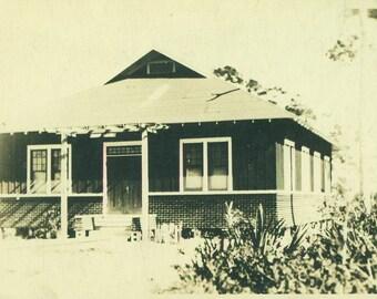 Brick House Summer Cottage Home RPPC Real Photo Postcard Vintage Antique Black White Photo Photograph