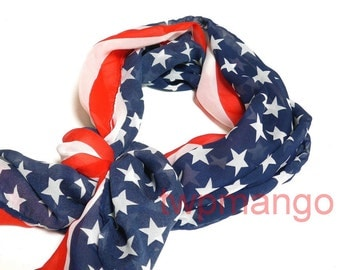 USA American Flag Star and Stripe Patriotic Red White Blue Long Scarf N194