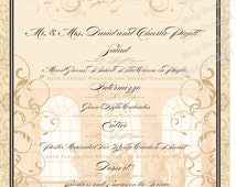 Wedding Menu for Old Hollywood Theme -  Great Gatsby - Old Hollywood for Wedding Receptions and Bridal Luncheons