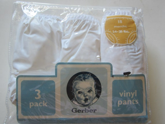 3 Gerber Waterproof Baby Vinyl Plastic Rubber Pants 18 M New