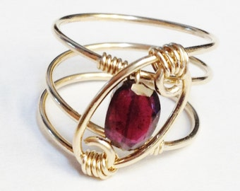 Garnet Ring  Garnet Jewelry  January Birthstone 14K Gold Filled Garnet Ring  Garnet Gold Ring  Garnet Gemstone