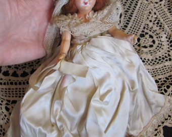 "Antique Little 7"" Inch Collectible BRIDAL WEDDING Doll"