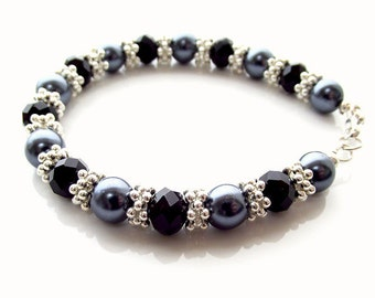 black gray and silver beaded bracelet, bling bracelet, glass pearl and crystal bracelet