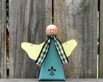 Angel, Painted Wood, Hanging Angel, Door Hanger, Primitive, Folk Art, Fleur de Lis, Green, Yellow, Green and Tan Checked Ribbon