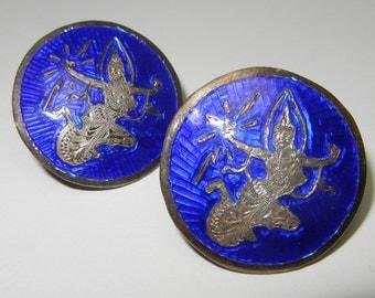 Vintage Siam Silver Blue Enamel Sterling Clip Earrings Goddess 1940's Screw Back Guilloche Enamel