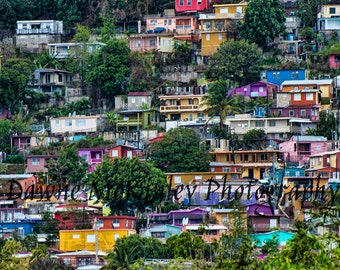 Colorful  Houses in Puerto Rico  Photograph Travel Photography 5x7, 8x10, 11x14