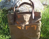 Field Tan Waxed Canvas, Cordura, and Leather Tote Bag