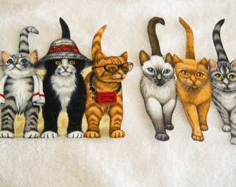 Set of 2 large Trio of Cats   Cotton Fabric  appliques