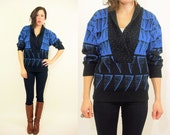 FAIR ISLE Sweater 80's Vintage Shawl Collar Sweater / V Neck / Abstract Black + Cobalt Blue Gradient Triangle Print