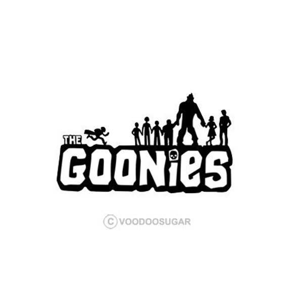Items similar to The Goonies Cast Black vinyl decal ...
