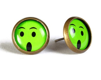 Green smile smiley hypoallergenic stud earrings (503) - Flat rate shipping