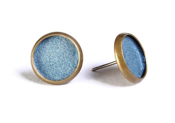Baby blue velvet hypoallergenic stud earrings (493)