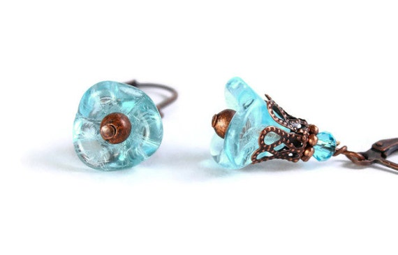 Light aqua blue bell flower glass dangle earrings Ready to ship (285) - Flat rate shipping