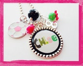 Personalized Soccer Necklace -  PINK SOCCER   -Hand Stamped SOCCER  Jewelry #b45