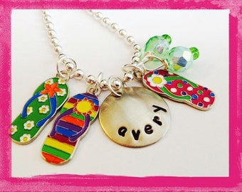Personalized Necklace - Hand Stamped Charm Necklace for Children - FLIP FLOPS - Custom Jewelry