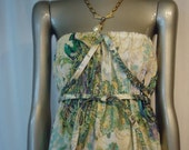 Peacock Strapless Sun Dress with adjustable straps size small/medium