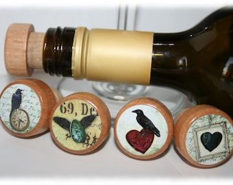 Raven Wine Stoppers- Crow Wine Stoppers- Wood Wine Stopper- Bulk Quantity Discount