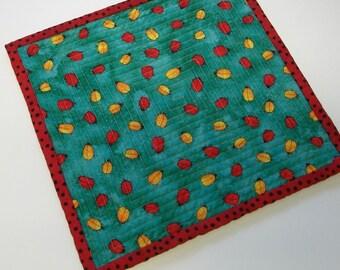 Ladybug Mug Rug Coaster Reversible Handmade by attheBrightSpot