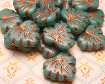 Turquoise Copper Glass Leaf Beads 10x13mm - 8pc