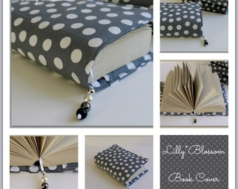 PDF Sewing Tutorial Book Cover with Beaded Bookmark attached.