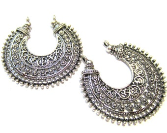 6 earring chandeliers antique silver metal jewelry findings muliti loop crescent moon shape jewelry componet 38mm x 35mm G1