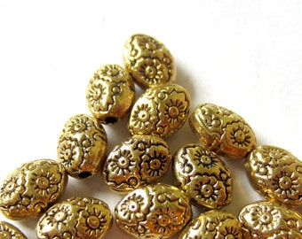 30 Antique gold beads oval embossed tibetan style boho chic 8mm 6mm-(X2)