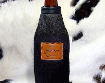 Cowhide Leather Beer Bottle Insulator - Beer Bottle Holder - Beer Coolie - Bison Leather - Montana, Elk, or other Wildlife
