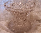 Victorian Cut Glass Punch Bowl Base Pedestal, ABP Cut Glass, Antique Pressed Bubble Glass, Hobstars, Statement Centerpiece, Serving Catering
