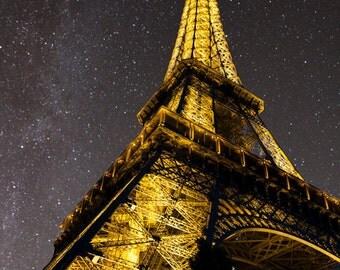 Eiffel Tower Print, Night Stars Photo Paris Photography France Photograph Dreamy Wall Art Home Decor Fine Art par83