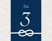 tie the knot printable table numbers - printable file - nautical wedding