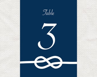 tie the knot printable wedding table numbers - downloadable - nautical wedding download,  sailing, table cards, reception decor, navy, blue