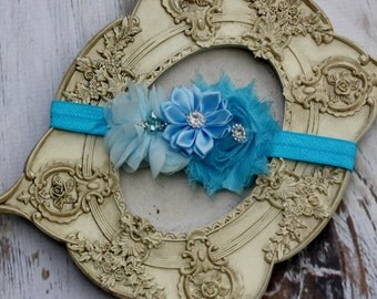Blue Headband,white baby headband,newborn headband, baby girl headband,baptism headband, infant headband, Baby hair bows