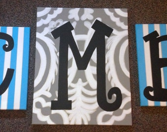 Monogrammed 3-Piece Painting
