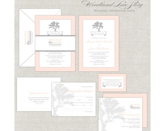 Rustic Tree Wedding Invitation, Peach and Gray, Woodland Wedding Invites, Modern Wedding Invite, OakTree, Custom Monogram, Fall, Summer