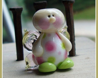 Tickled Pink Fairy Lampwork Bead