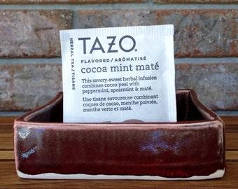 Handmade Kodiak Island Deep Red Classic Ceramic Powder Drink packets, SOS Pad, and Tea Bag Holder