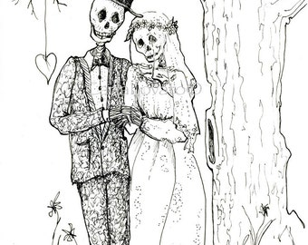 Skeleton Bride And Groom Drawing