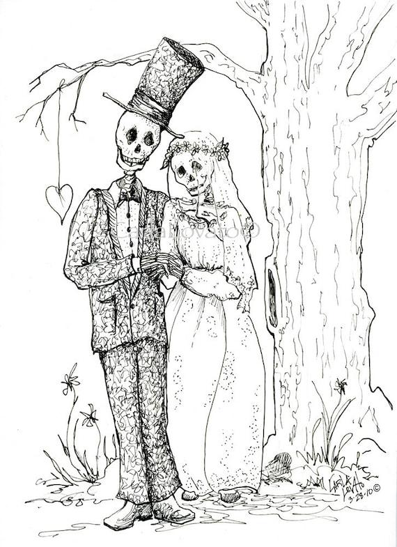 Skeleton Wedding Skeleton Bride and Groom digital art